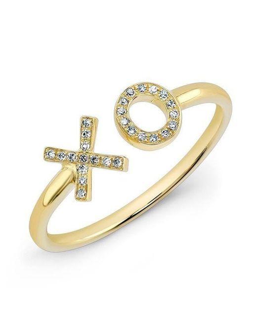 Anne Sisteron   Metallic 14kt Yellow Gold Diamond Xo Ring   Lyst