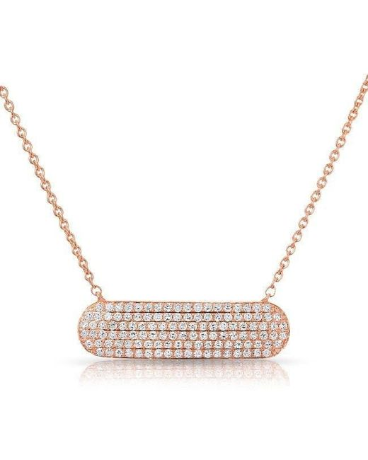 Anne Sisteron | Metallic 14kt Rose Gold Diamond Id Plate Necklace | Lyst