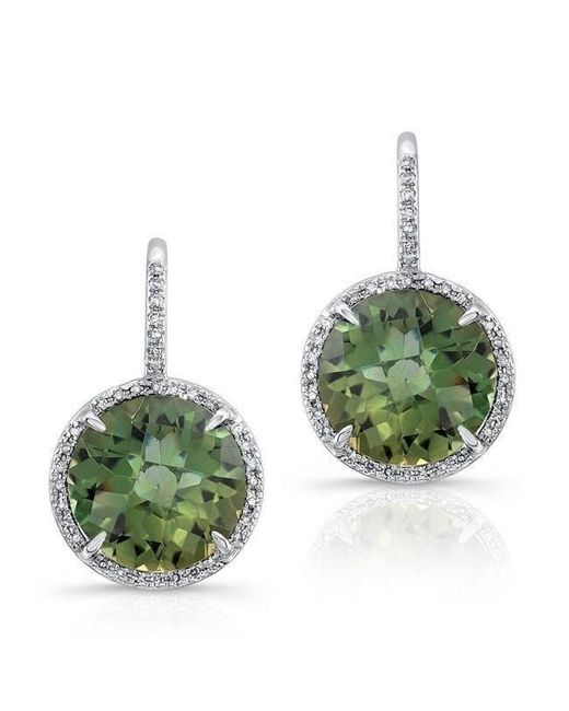 Anne Sisteron - 14kt White Gold Green Amethyst Diamond Round Earrings - Lyst