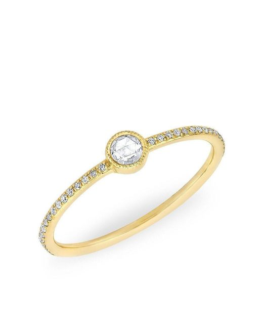 Anne Sisteron | Metallic 14kt Yellow Gold Diamond Solitaire Ring | Lyst