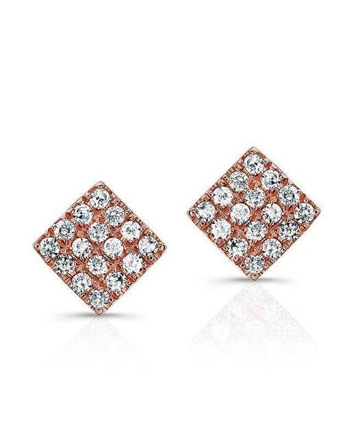 Anne Sisteron - Metallic 14kt Rose Gold Diamond Mini Square Stud Earrings - Lyst