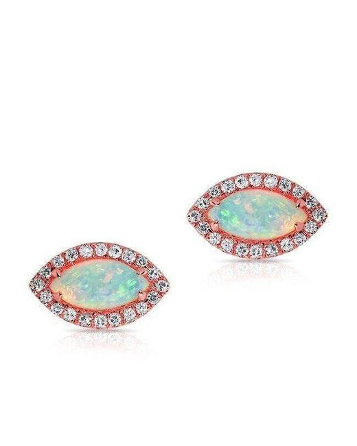 Anne Sisteron - Metallic 14kt Rose Gold Opal Diamond Mini Marquis Stud Earrings - Lyst
