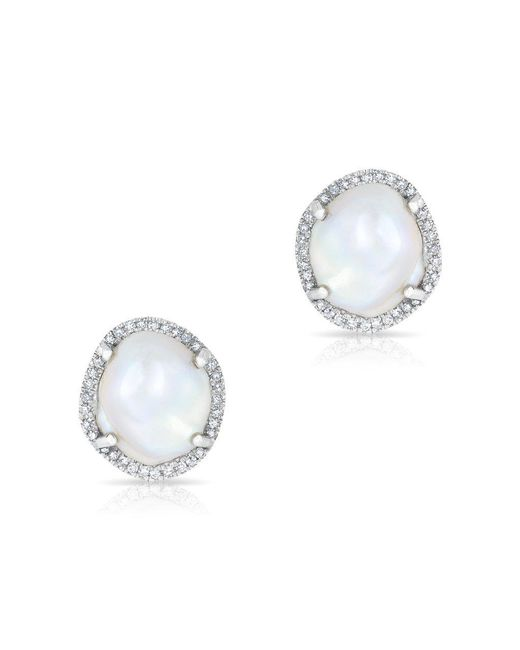 Anne Sisteron - Metallic 14kt White Gold Diamond And Pearl Earrings - Lyst
