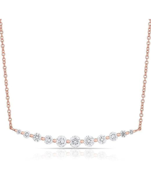Anne Sisteron - Metallic 14kt Rose Gold Multi Diamond Crescent Necklace - Lyst