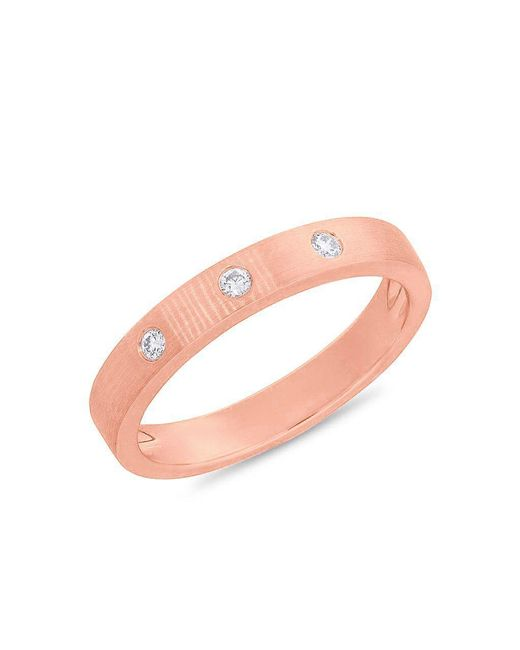 Anne Sisteron - Pink 14kt Rose Gold Diamond Matte Band Ring - Lyst