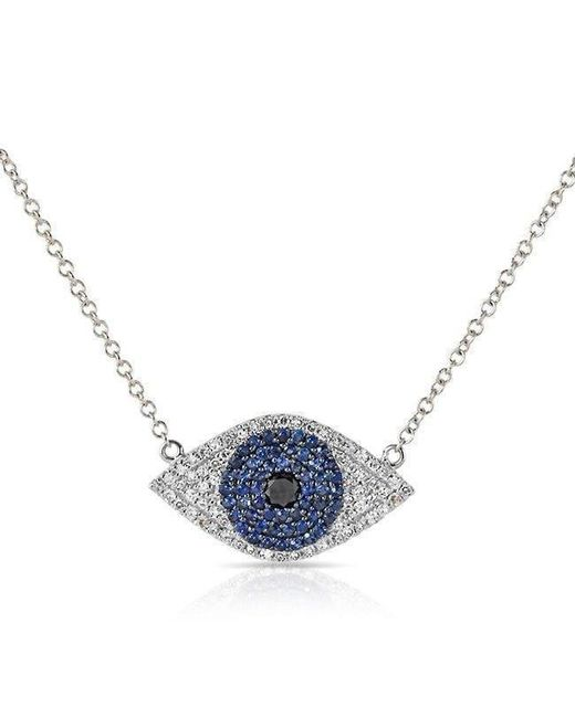 Anne Sisteron - 14kt White Gold Blue Sapphire Diamond Evil Eye Necklace - Lyst