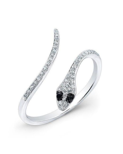 Anne Sisteron - Multicolor 14kt White Gold Diamond Slytherin Ring With Black Diamond Eyes - Lyst