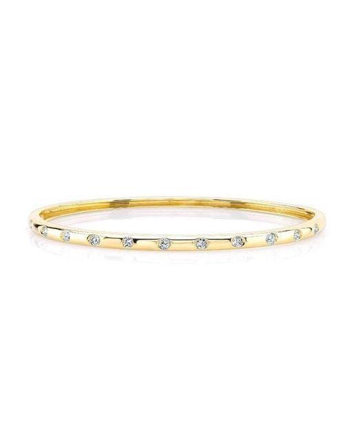 Anne Sisteron - Metallic 14kt Yellow Gold Sparkle Half Diamond Bangle Bracelet - Lyst
