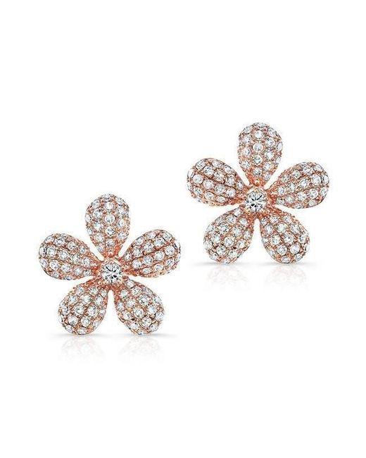 Anne Sisteron - Multicolor 14kt Rose Gold Diamond Puffy Daisy Flower Stud Earrings - Lyst