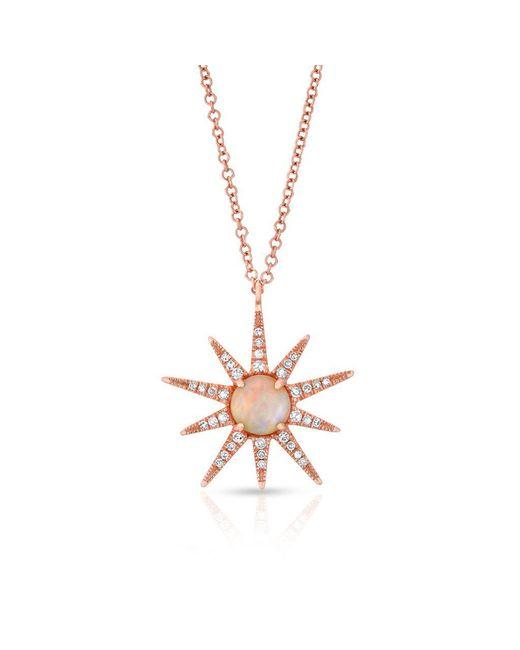 Anne Sisteron - Multicolor 14kt Rose Gold Opal Diamond Starburst Necklace - Lyst