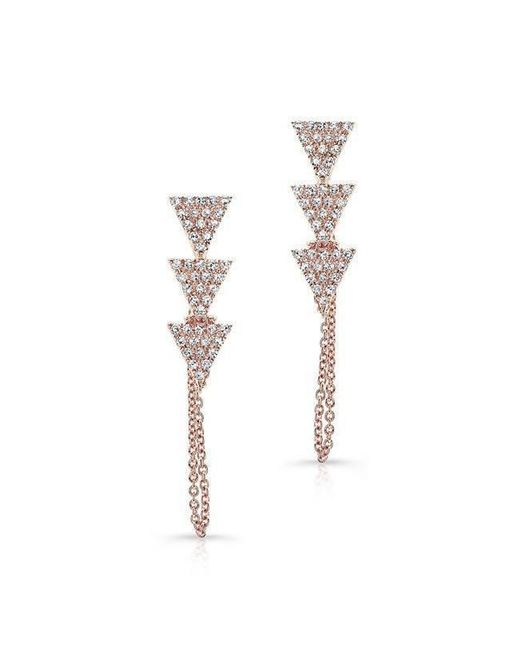 Anne Sisteron | Metallic 14kt Rose Gold Diamond Stacked Triangle Chain Earrings | Lyst