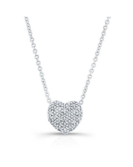 Anne Sisteron | Metallic 14kt White Gold Diamond Rounded Heart Necklace | Lyst