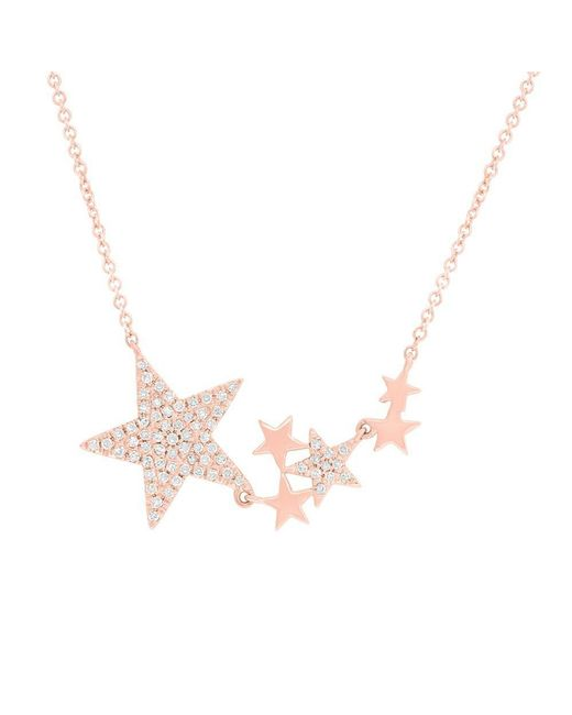 Anne Sisteron - Metallic 14kt Rose Gold Diamond Star Necklace - Lyst