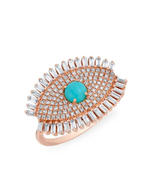 Anne Sisteron | Multicolor 14kt Rose Gold Baguette Diamond Turquoise Evil Eye Gypsy Ring | Lyst