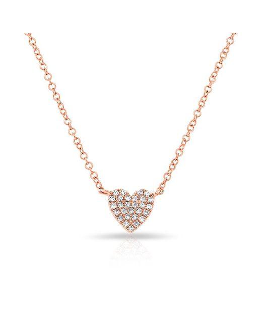 Anne Sisteron | Metallic 14kt Rose Gold Diamond Heart Necklace | Lyst