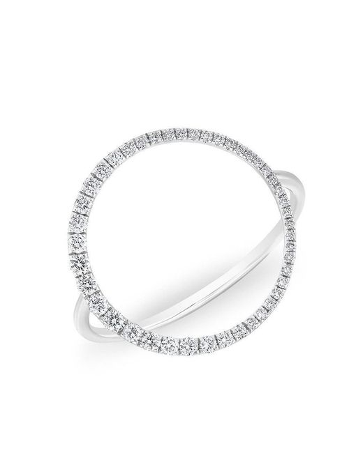 Anne Sisteron - Metallic 14kt White Gold Diamond Luxe Open Circle Ring - Lyst