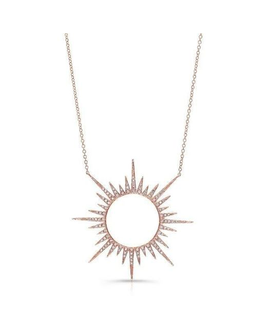 Anne Sisteron - Metallic 14kt Rose Gold Diamond Open Sunburst Necklace - Lyst