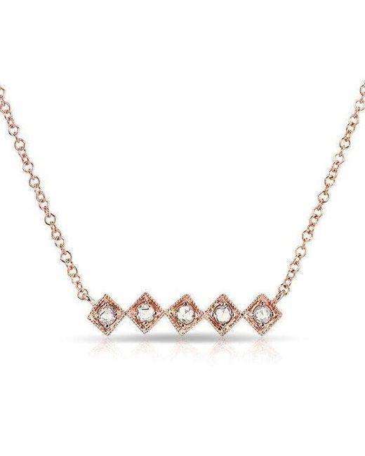 Anne Sisteron - Metallic 14kt Rose Gold Rose Cut Diamond Bar Necklace - Lyst