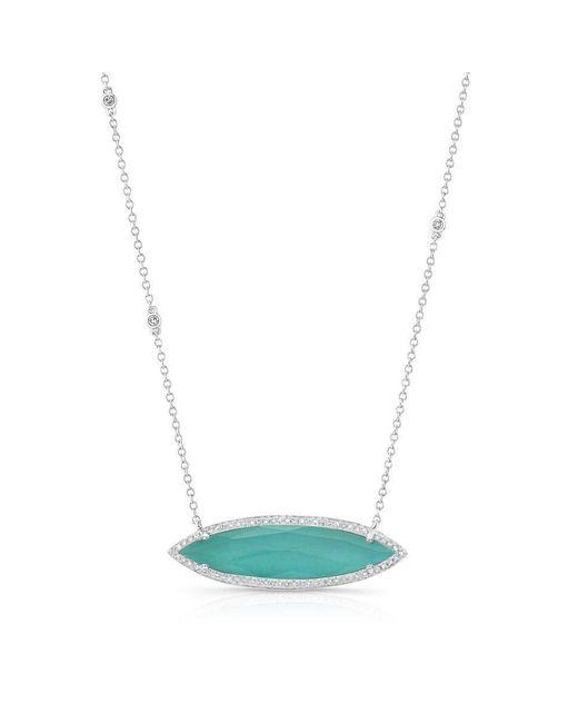 Anne Sisteron - Multicolor 14kt White Gold Triple Diamond Chain Turquesa Necklace - Lyst