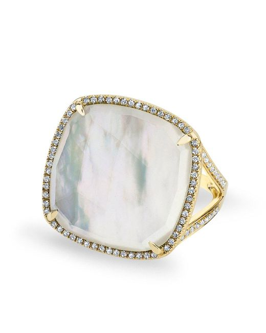 Anne Sisteron - Metallic 14kt Yellow Gold Mother Of Pearl Diamond Doublet Ring - Lyst