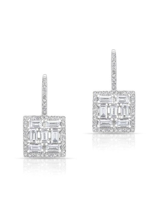 Anne Sisteron - 14kt White Gold Baguette Diamond Square Labrynthe Earrings - Lyst