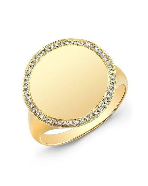 Anne Sisteron - Metallic 14kt Yellow Gold Diamond Solid Circle Ring - Lyst