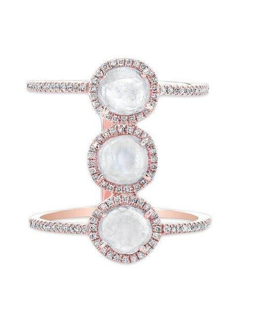 Anne Sisteron - Multicolor 14kt Rose Gold Triple Diamond Slice H Ring - Lyst