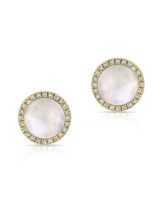 Anne Sisteron | Metallic 14kt Yellow Gold Diamond Mother Of Pearl Disc Stud Earrings | Lyst