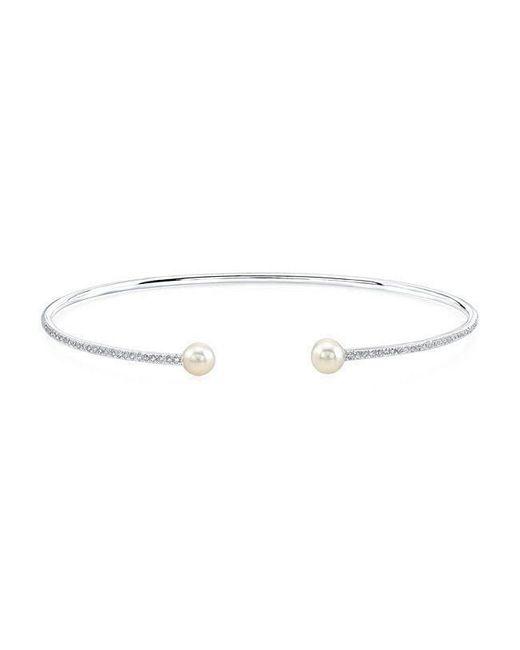 Anne Sisteron | Multicolor 14kt White Gold Diamond And Pearl Cuff | Lyst