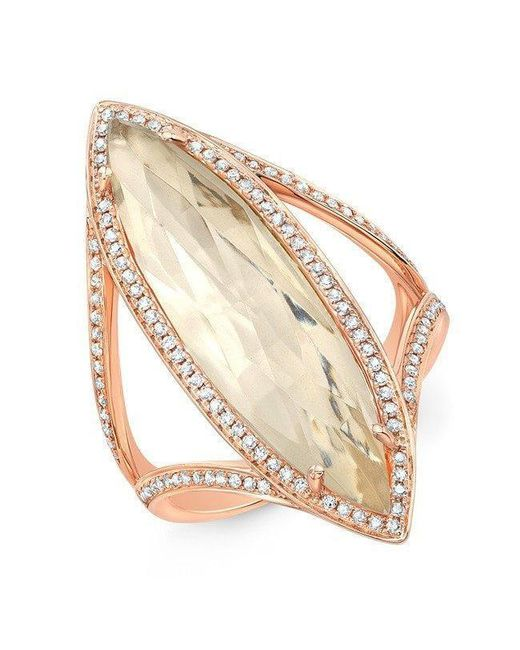 Anne Sisteron - Metallic 14kt Rose Gold Diamond Topaz Serena Ring - Lyst