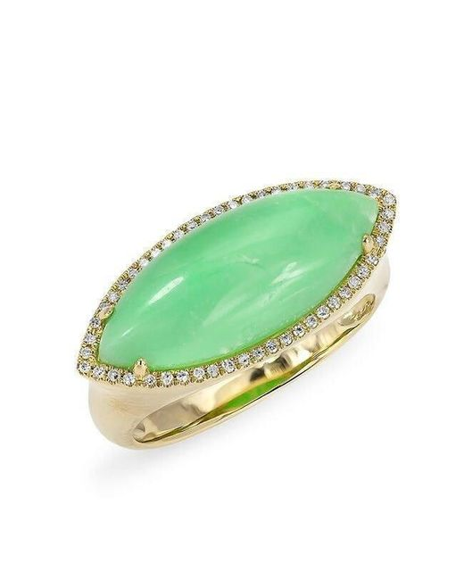 Anne Sisteron - Multicolor 14kt Yellow Gold Diamond Chrysoprase Marquis Ring - Lyst