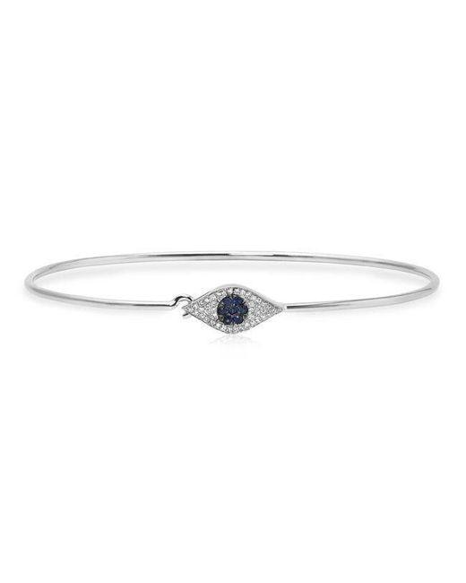 Anne Sisteron - Metallic 14kt White Gold Sapphire And Diamond Evil Eye Latch Bracelet - Lyst