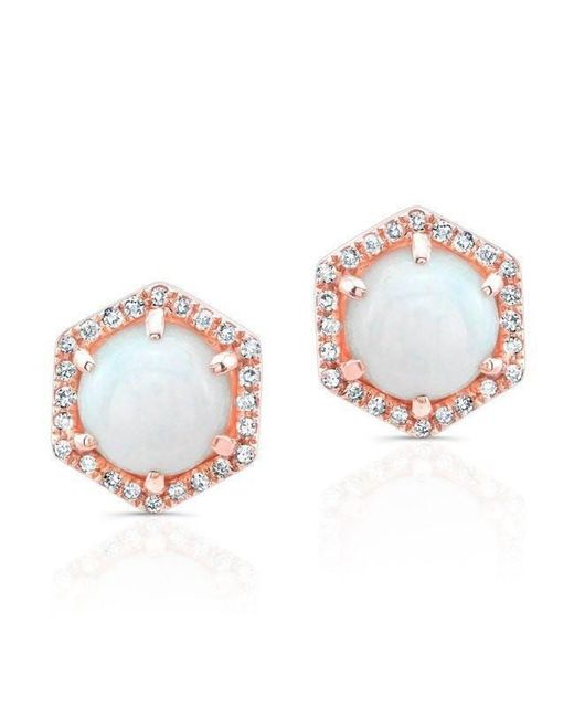 Anne Sisteron - Multicolor 14kt Rose Gold White Opal Diamond Hexagon Stud Earrings - Lyst