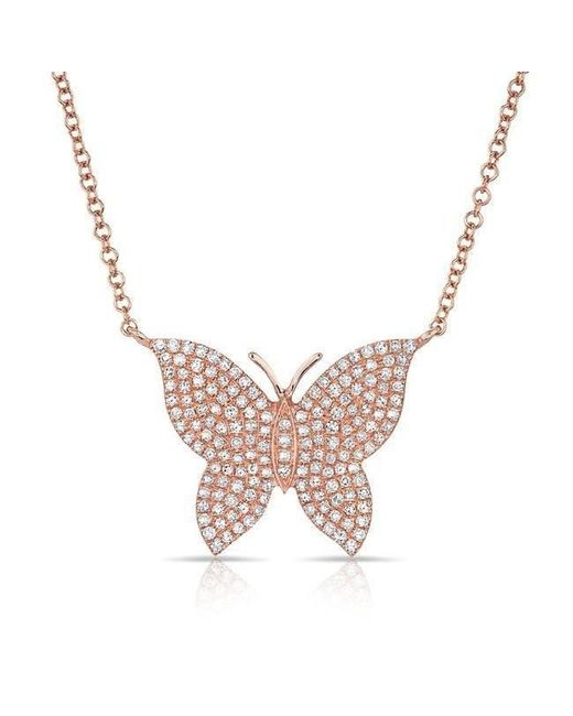 Anne Sisteron - Multicolor 14kt Rose Gold Pave Diamond Butterfly Necklace - Lyst