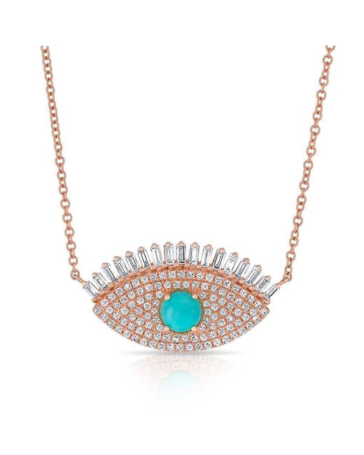 Anne Sisteron - Multicolor 14kt Rose Gold Baguette Diamond And Turquoise Gypsy Necklace - Lyst