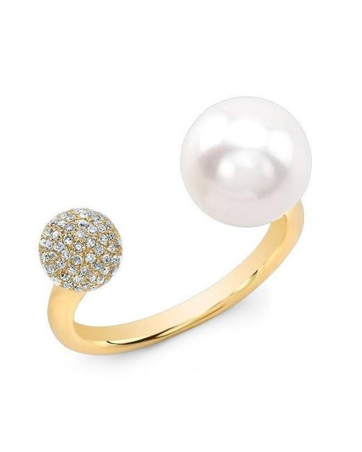 Anne Sisteron - White 14kt Yellow Gold Diamond Dome And Pearl Ring - Lyst
