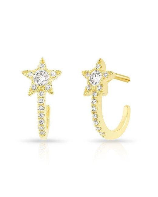 Anne Sisteron - Metallic 14kt Yellow Gold Diamond Curved Star Huggie Earrings - Lyst