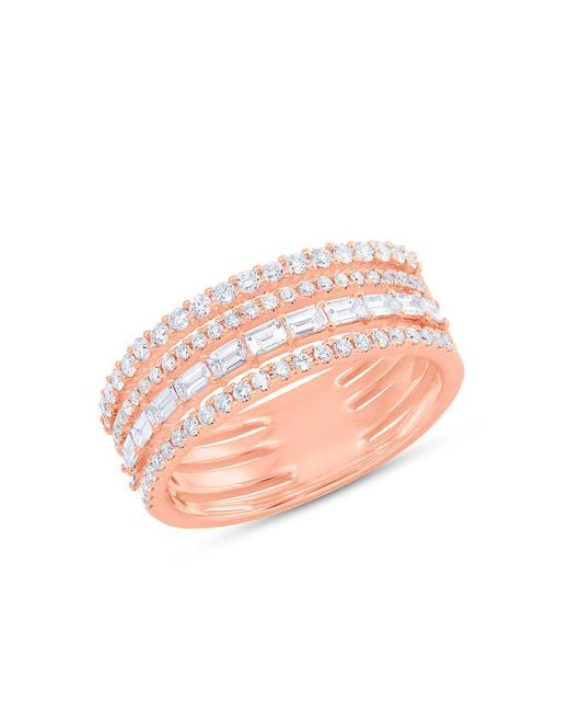 Anne Sisteron - Pink 14kt Rose Gold Diamond Baguette Eternity Ring - Lyst
