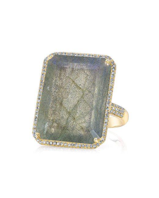 Anne Sisteron - Metallic 14kt Yellow Gold Moonstone Diamond Rectangle Cocktail Ring - Lyst