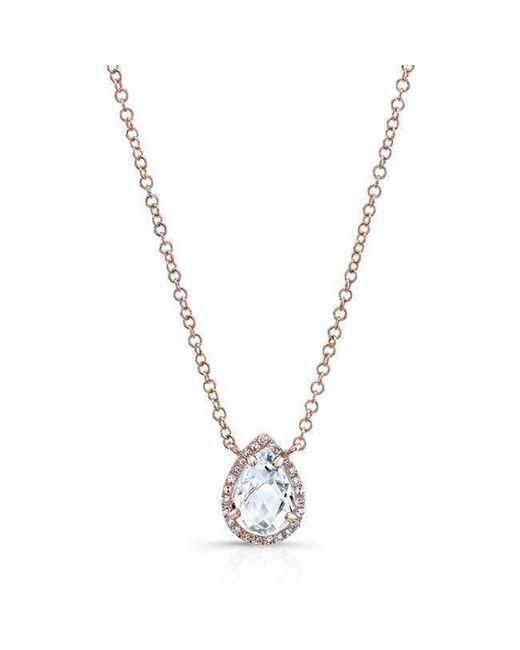 Anne Sisteron - Metallic 14kt Rose Gold Diamond White Topaz Pear Necklace - Lyst