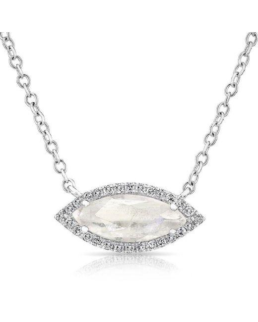 Anne Sisteron | Metallic 14kt White Gold Moonstone Diamond Mini Marquis Necklace | Lyst