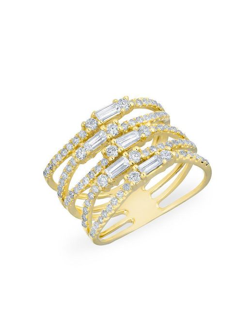 Anne Sisteron - Metallic 14kt Yellow Gold Diamond Baguette Stacked Ring - Lyst