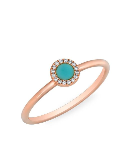Anne Sisteron - Blue 14kt Rose Gold Diamond Turquoise Round Disc Ring - Lyst