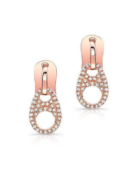 Anne Sisteron - Metallic 14kt Rose Gold Diamond Zipper Earrings - Lyst