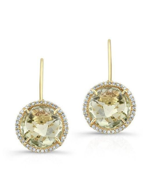Anne Sisteron - Multicolor 14kt Yellow Gold Green Amethyst Diamond Round Earrings - Lyst