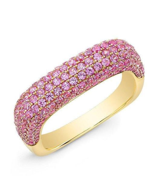 Anne Sisteron - 14kt Yellow Gold Pink Sapphire Square Ring - Lyst