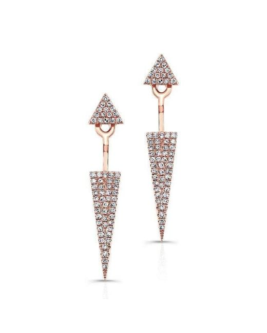 Anne Sisteron - Metallic 14kt Rose Gold Diamond Double Triangle Floating Earrings - Lyst