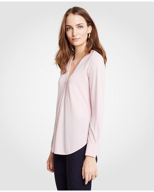 Ann Taylor - Pink V-neck Pleat Front Top - Lyst