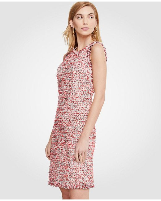 Lyst - Ann Taylor Textured Tweed Fringe Shift Dress in Red
