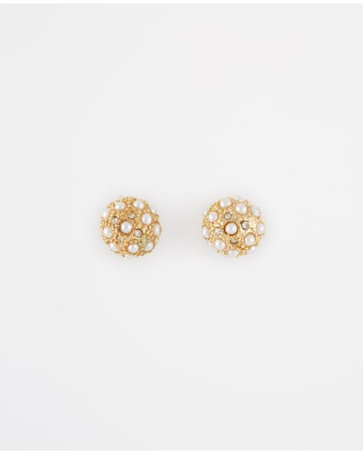 Ann Taylor | Metallic Modern Pearlized Cabochon Stud Earrings | Lyst
